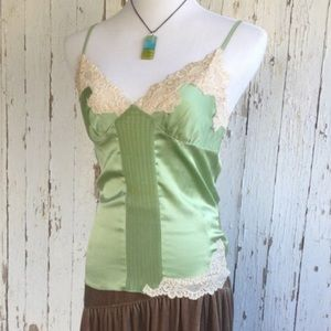 Bebe silk camisole in gorgeous green with lace